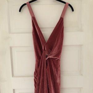 Pink velvet mini dress